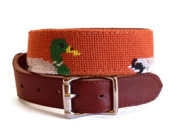 Mallard Needlepoint Dog Collar