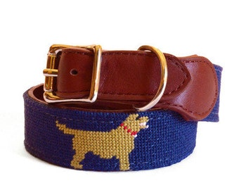 Golden Retriever Needlepoint Dog Collar