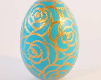 Ceramic Egg with Golden Rose Design - Ceramic - Hand-painted in Aqua and Gold - Decorative Egg - Egg Decor