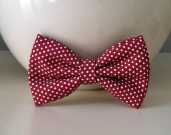 Dog Bow Tie- Maroon with White Dots