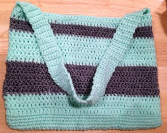 Crochet Teal and Grey Purse
