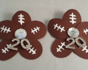 Sports Mom Bling Football Hair Clip and Shoe Clips
