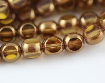 6mm Antique Style Triangle Cut : Bronze / Medium Topaz  Czech Glass Beads (25)