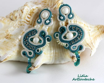 Earrings soutache,jewelry,embroidered,ecru,emerald