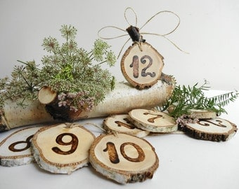 1-12 Table Numbers, Wood Table Numbers, Rustic Table  Numbers, Wood Burned Table Numbers, Birch Table Numbers, 1-12 Table Numbers