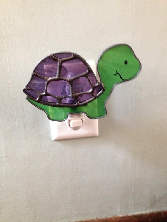 Stained glass turtle night light or sun catcher - Turtle nite light ...