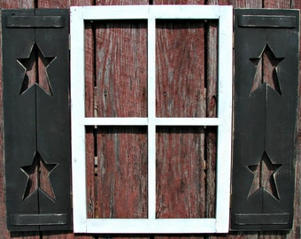Window Frame with  Shutters and Shelf