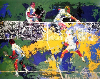 DOUBLES by LeRoy Neiman Framed 1974 Signed and Numbered Serigraph -- Insured Shipping and Handling INCLUDED