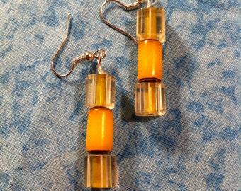 Cane Glass Earrings - Yellow