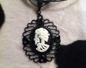 Lolita Skeleton Cameo Necklace - Black