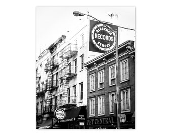 "New York Art, Black and White Photography, Fine Art Print, NYC, Poster, Greenwich Village, NY Wall Decor, Urban Wall Art - ""Bleecker Street"""