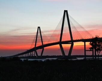 "Charleston Art, Ravenel Bridge Photography, Sunset, Fine Art Print, Architectural Print, Red, Orange, Pink, Wall Decor - ""Ravenel Sunset"""