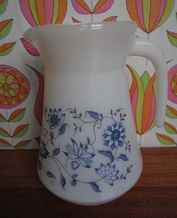 Large Arcopal France Blue Onion Pitcher Jug Carafe White Milk Glass Dark Light Blue Flowers Mid Century Kitchenware Garden Party Summer