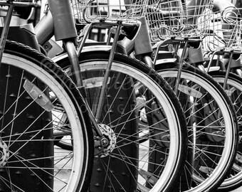Black and White Photography - Row of Bikes - Bicycle Photography - Paris Photography - 5x5 8x8 Fine Art Photography Print - Paris Home Décor