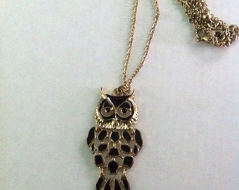 Vintage black enamel owl gold tone