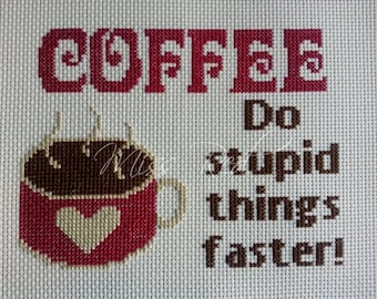 Coffeeeeee counted cross stitch kit, funny, simple