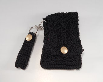 Black Crocheted Nylon Cell Phone Wristlet and Key Chain Key Fob Wallet