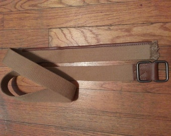 "Vintage 1970's Brown Cotton Web Belt With Leather Trim and Frayed Fringe End Size 54""L x 2""W"