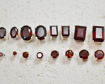 Garnet Stud Earrings In Sterling Silver - Choose a size!  January birthstone no nickel post earrings in sterling and genuine stone.