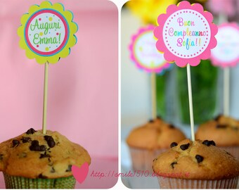 Happy Birthday Cupcake toppers