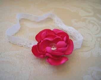 Pretty Pink Handmade Babies Flower Headband