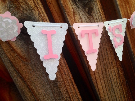 Its a girl banner, baby shower banner, baby shower decorations