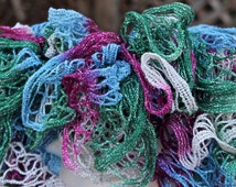 Christmas Pink, White, Green and Blue Ruffled Scarf - Sundance Holiday Frill Holiday Jewels