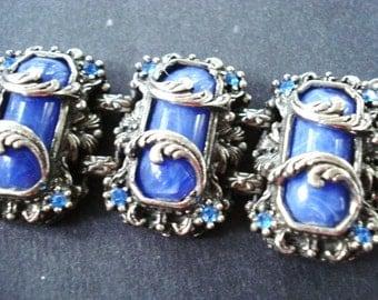 Gorgeous ORNATE VINTAGE BRACELET - One of the Kind - Silver Tone   - Blue Color Stones