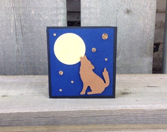 dark blue sky, full moon, howling wolf, post it note holder {howl at the moon}