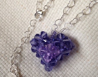 Swarovski Crystal Heart Pendant, Crystal Puffy Heart Pendant, Purple Crystal Heart Necklace