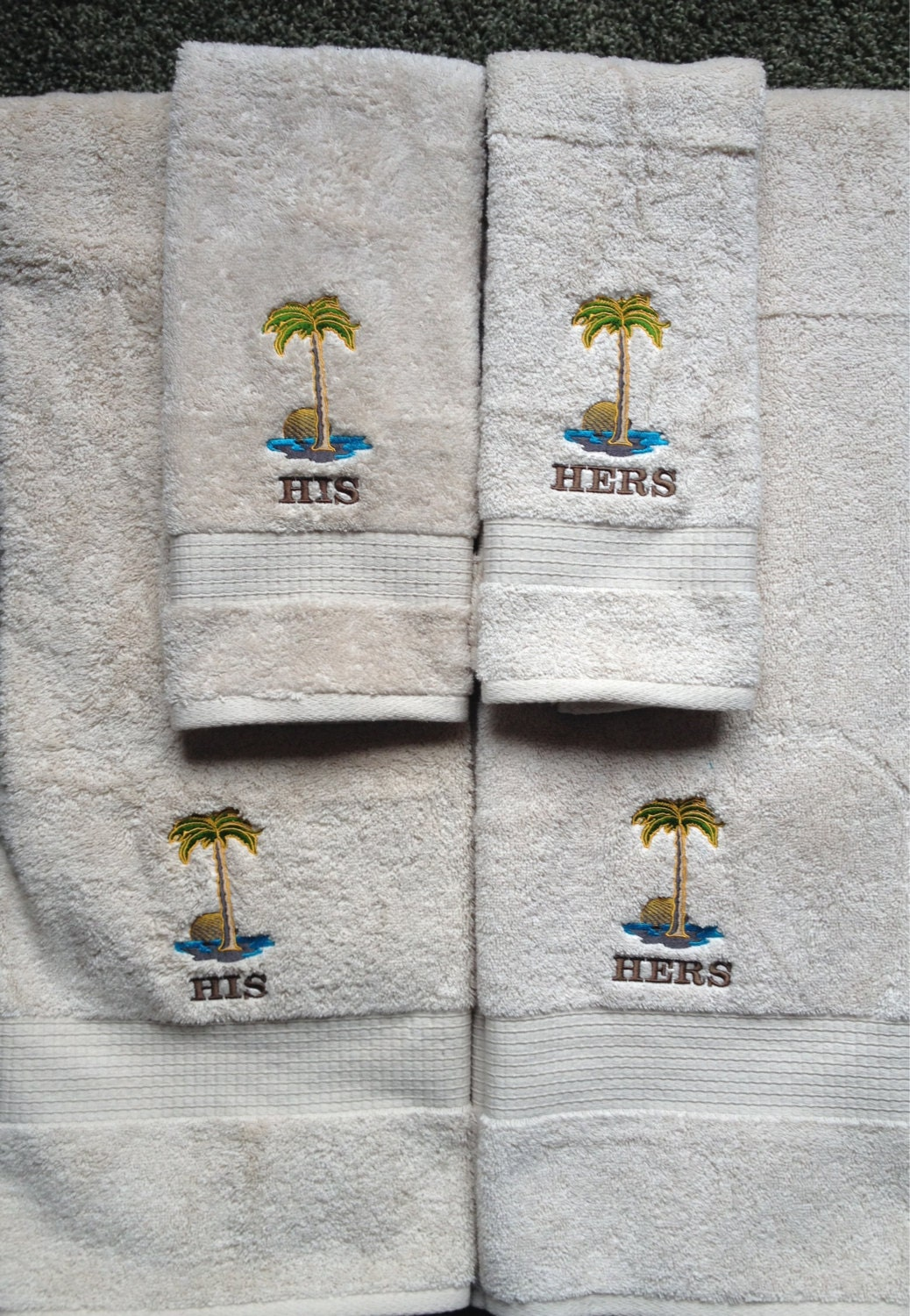 His hers embroidered beach theme bath towel set - Beach themed bathroom towel sets ...