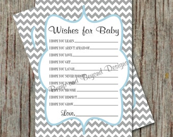 Baby Shower Game Printable Wishes for Baby Instant Download Powder Blue Grey Chevron Wishes for Baby diy Printable Party Game Boy PDF 026
