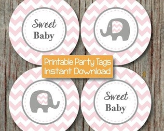 Baby Shower Cupcake Toppers Favor Tags Stickers Printable Powder Pink Grey Elephant diy Party Sweet Baby INSTANT DOWNLOAD Baby Girl 080