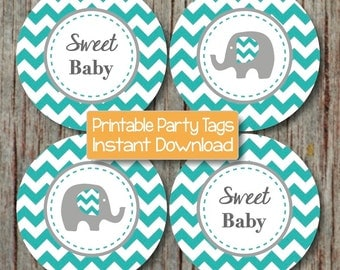 Aqua Grey Cupcake Toppers Instant Download Printable Elephant Baby Shower Favor Tags diy Baby Shower Party Supplies Sweet Baby Boy 085