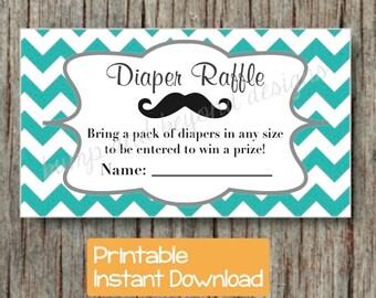 Diaper Raffle Tickets Little Man Baby Shower Mustache Raffle Tickets Aqua Grey Chevron INSTANT DOWNLOAD pdf Printable Party DIY Digital 014