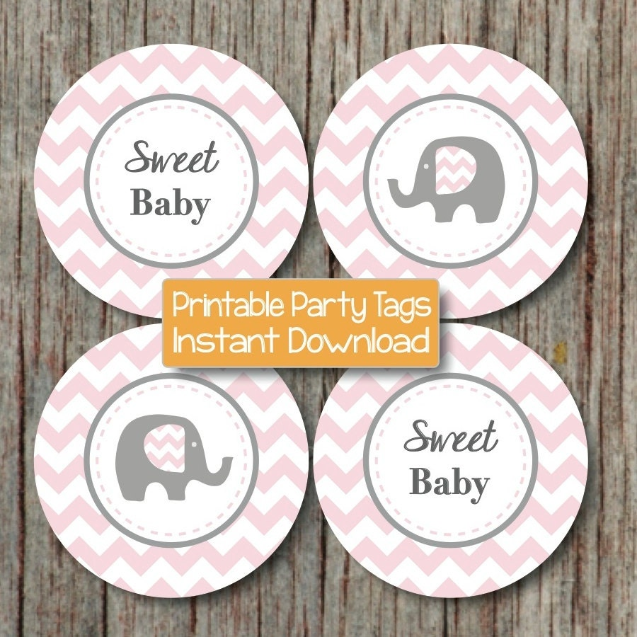 Baby shower cupcake toppers favor tags stickers printable for Printable baby shower favor tags