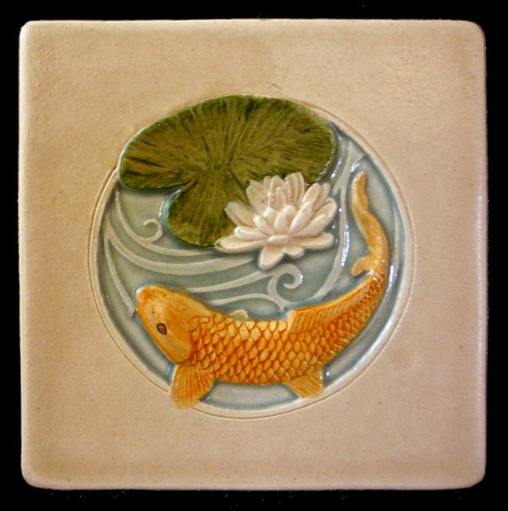 Sculpture wall art ceramic tile koi wall by for Koi wall decor