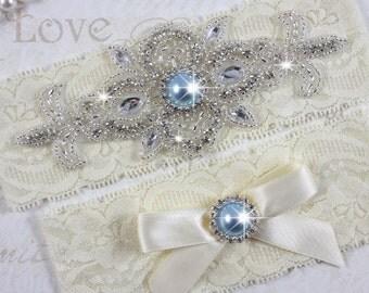 MADRID II - Light Blue Wedding Garter Set, Ivory Lace Garter, Rhinestone Crystal Bridal Garters, Something Blue