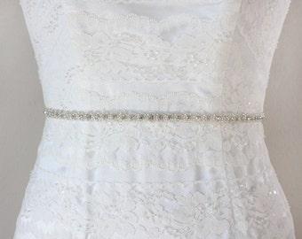 ROSABEL - Petite Wedding Crystal Belt, Rhinestone Bridal Beaded Sash, Bridal Party Belts, Bridesmaids Gifts