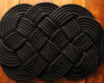 Nautical Rope Rug - Nautical Decor - Nautical Gift - Rope Rug - Black Bath Mat - Cotton - (29 x 18)