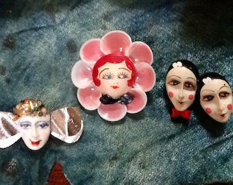 Vintage Abstract Brooches / Retro / Wearable Art / Collectibles / Hand Painted / Kitsch / Avant Garde / High Fashion / Hipster
