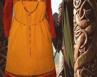FREE SHIP SCA Garb Norse Viking Medieval Mead Linen Russet Cotton Apron Kirtle Ensemble lxl