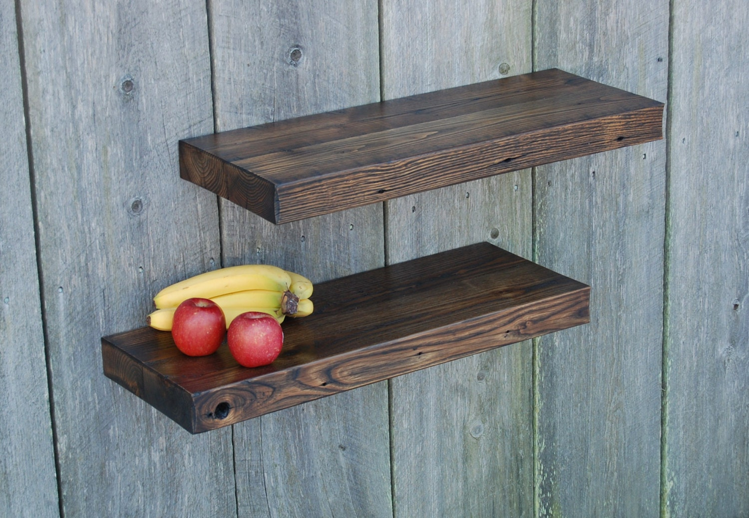 Barn wood floating shelves kitchen bath