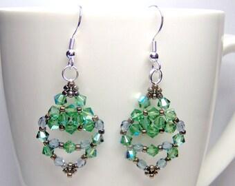 Green and blue earrings, green earrings, swarovski earrings, erinite earrings, summer earrings, erinite swarovski, ER020