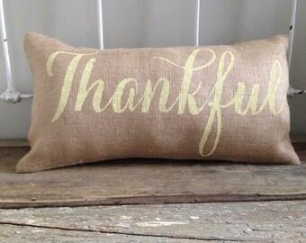 Burlap Pillow- 'Thankful' lumbar pillow, Thanksgiving decor, Fall pillow