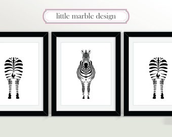 Zebras Print Set: Black and White, Print Set, Animal Art, Three Print Set, Zebra, 8x10 Print, Animal Art, Animal Print