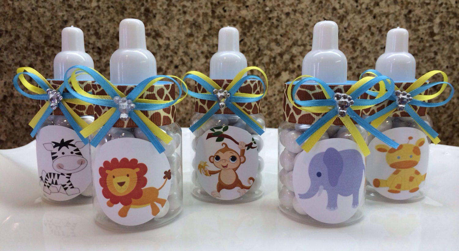10 safari themed baby shower favors baby bottle by thecandybarn