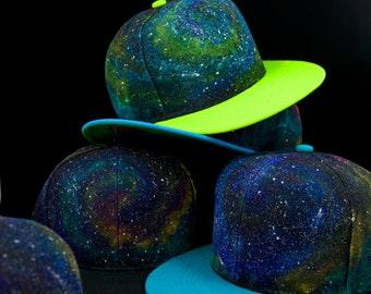 Hand Painted Galaxy Snapback Hat, Manik Galaxy Snapbacks, Cosmic Soul Snapback Hat, Galaxy Hat
