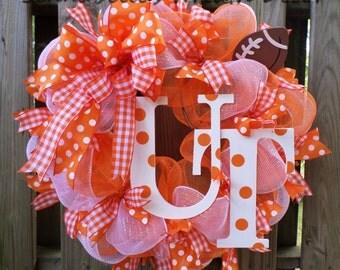 University of Tennessee Wreath, Deco Mesh Wreath, Vols, UT, Tennessee Volunteers, Football