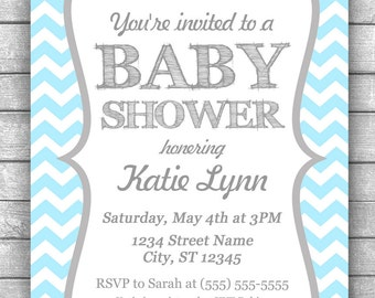 DIY Printable Blue Chevron with Gray Baby Shower Invitation Blue and Grey Baby Shower Invitation Blue and Gray Invitation PRINTABLE